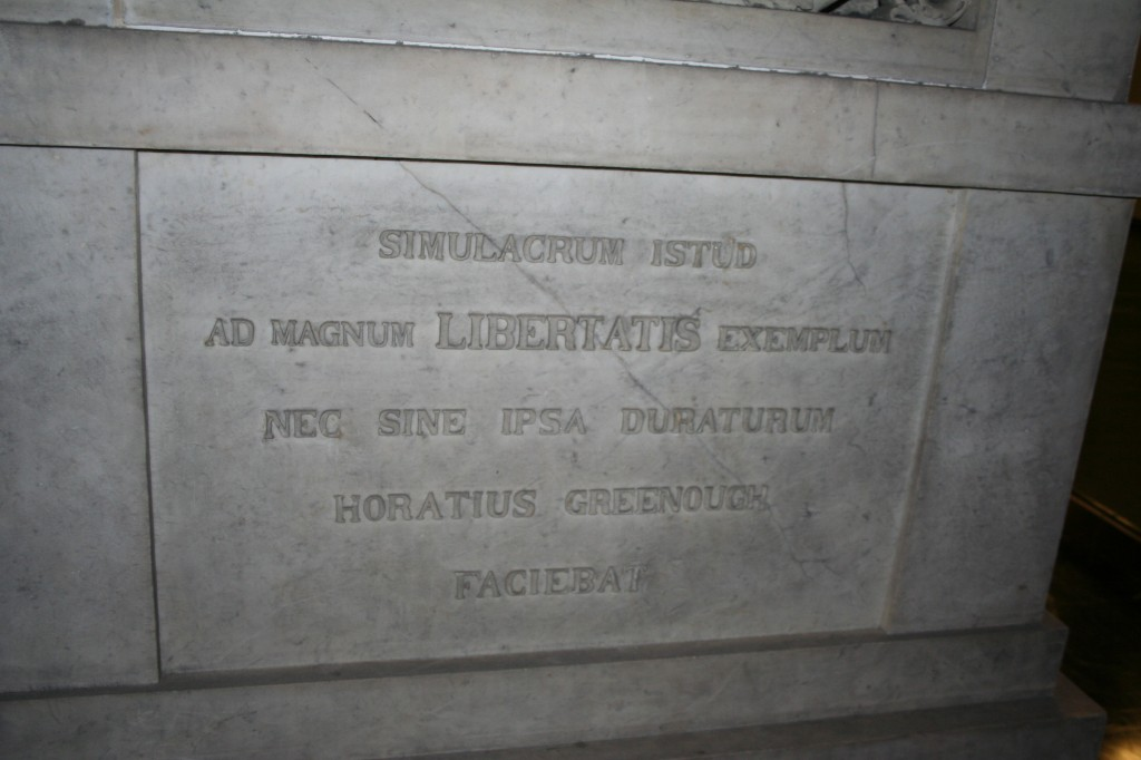 Engraving at base of George Washington statue